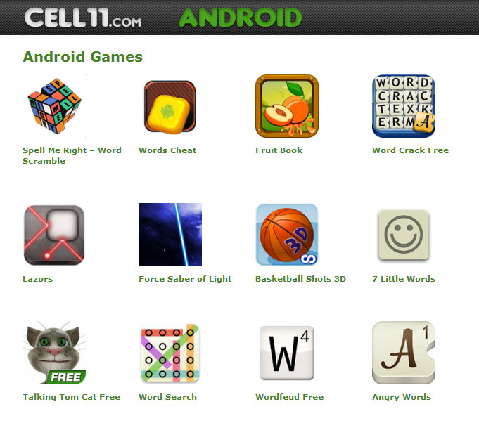 free cell phone games