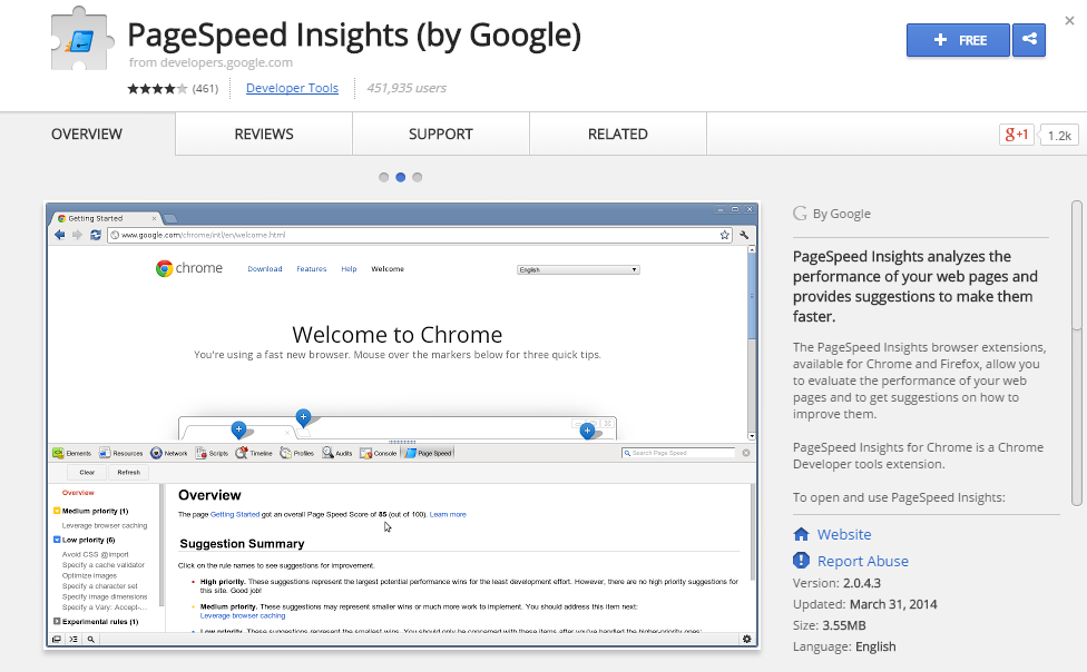 PageSpeed Insights by Google-Best Chrome Extensions for Developers