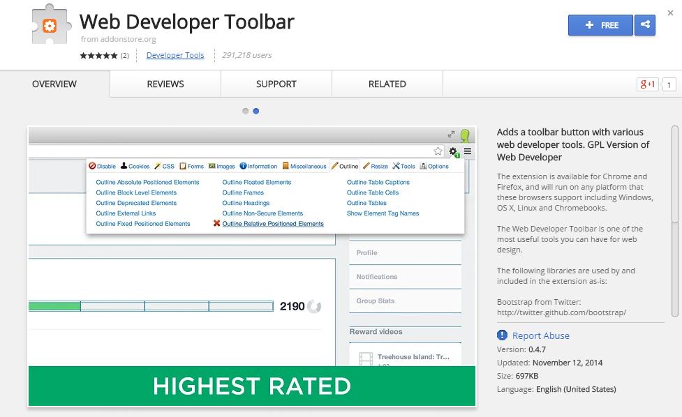 Web Developer Toolbar-Best Chrome Extensions for Developers