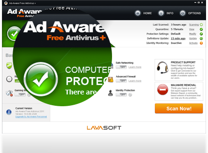 Lavasoft Free Ad Aware antivirus-Best Free Antivirus Software to Remove Virus From Your PC