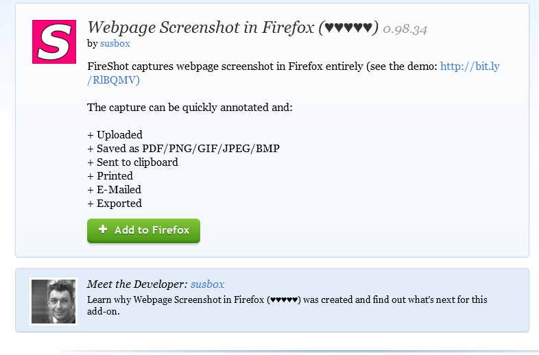 webpage-screenshot-fireshot-firefox-Best Mozilla Firefox Addons for Developers