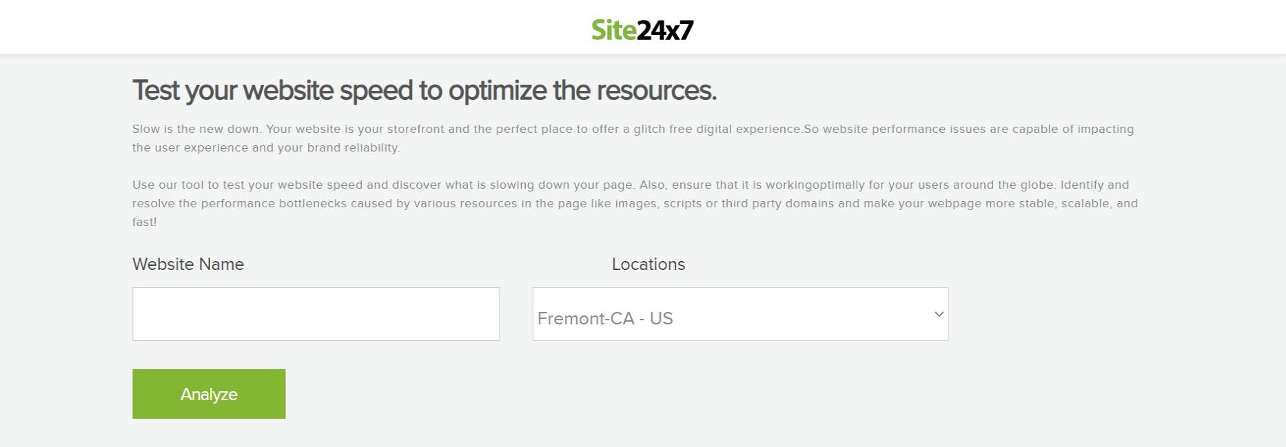 Site24x7-Best Website Page Speed Test Tools-Mobile Site-Desktop Site