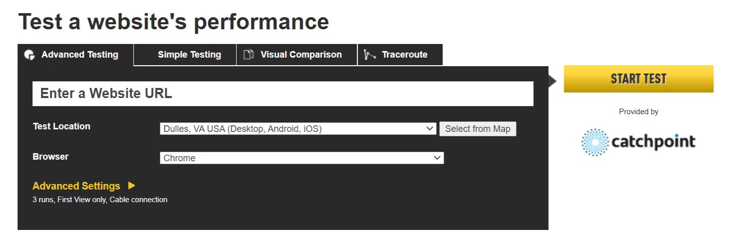 WebPageTest-Best Website Page Speed Test Tools-Mobile Site-Desktop Site